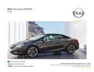 Tarifs Opel Cascada