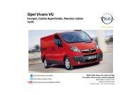 Tarifs et fiche technique Vivaro - Opel