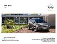 Tarifs et fiche technique Meriva - Opel