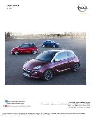 Tarifs et fiche technique ADAM - Opel