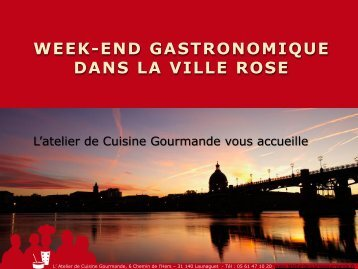 d'information et réservation - L'atelier de cuisine gourmande