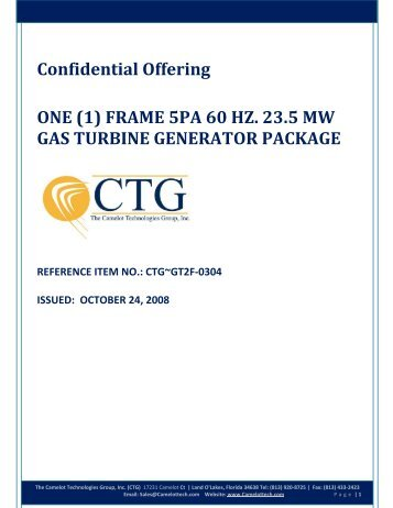 GE Frame 5PA Gas Turbine Package - Camelot Technologies Group