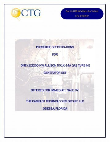 purchase specifications for one (1) - Camelot Technologies Group