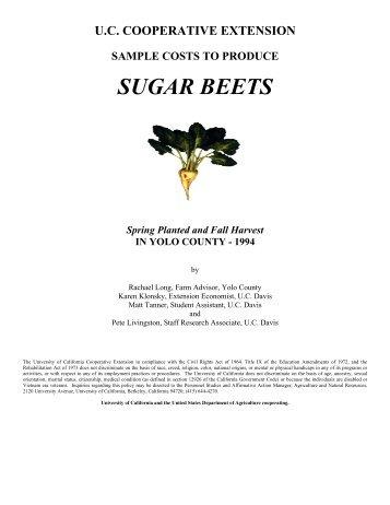 sugar beets - Cost & Return Studies - University of California, Davis