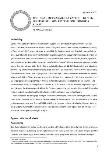 Fønikiske metalskåle fra Cypern  - Den eklektiske stil som