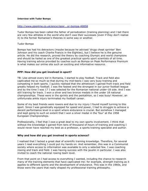 tudor bompa  Interview With Tudor Bompa - TeamUnify