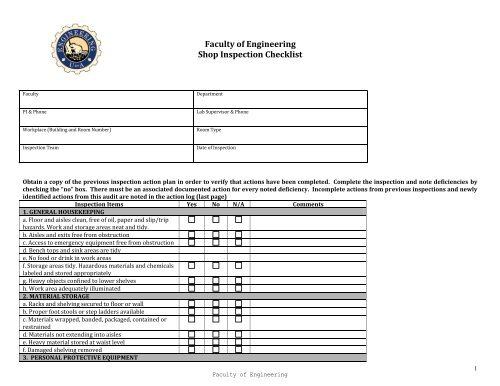 Shop Inspection Checklist Engineering Health Safety