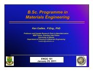 B.Sc. Programme in Materials Engineering - Faculty of Engineering