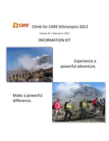 Climb for CARE Kilimanjaro 2012 INFORMATION ... - CARE Canada