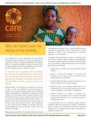 Aller de l'avant pour les mères et les enfants - CARE Canada