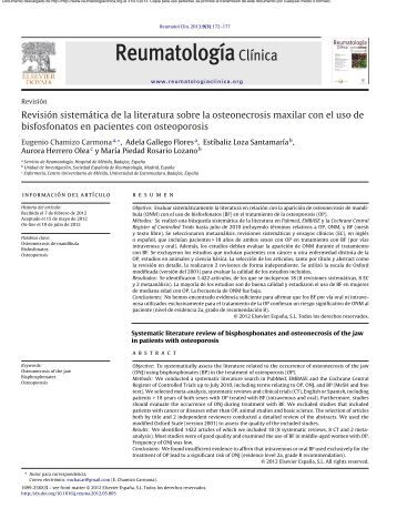 Revisión sistemática de la literatura sobre la osteonecrosis maxilar ...