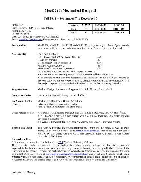 Mece 360 Mechanical Design Ii Mechanical Engineering