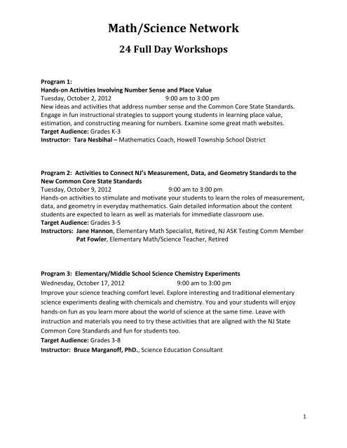 to review math/science offerings - Asbury Park School District