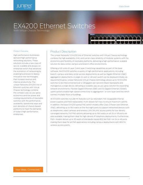 NEW Juniper EX-UM-4SFP 4-Port 1 Gigabit XFP Uplink Module