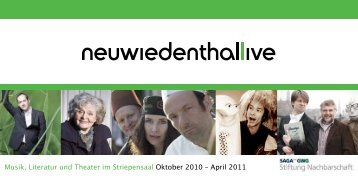 Musik, Literatur und Theater im Striepensaal Oktober ... - ProQuartier