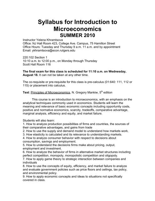 Syllabus for Introduction to Microeconomics SUMMER 2010