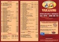 Download hier onze menulijst - Restaurant Vulcano
