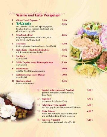 Speise- & Getränkekarte - Griechisches Spezialitäten-Restaurant ...