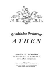 Speisekarte - Restaurant Athen - Ratingen