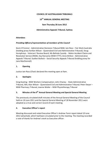 COAT 10th AGM Minutes of 28 June 2012 (PDF 91KB) (2 pages)