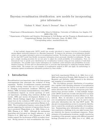 Bayesian recombination identification: new models for ... - Statistics