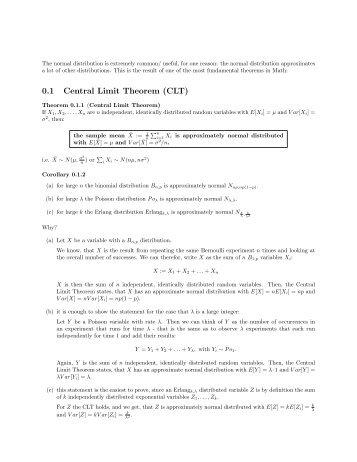 0.1 Central Limit Theorem (CLT)