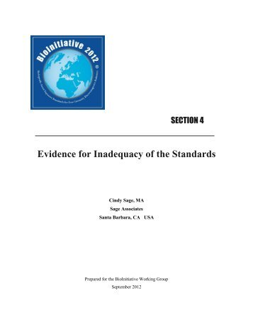 Evidence for Inadequacy of the Standards – Ms. Sage