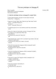 Travaux pratiques en langage R - Laboratoire de Pierre Legendre
