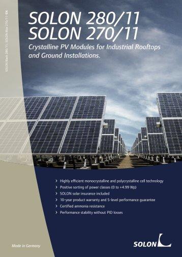 Datasheet SOLON 270/11 Solar panels - SunFields Europe