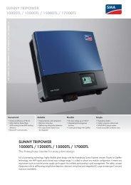 Datasheet SMA Sunny Tripower 10000TL – 12000TL – 15000TL