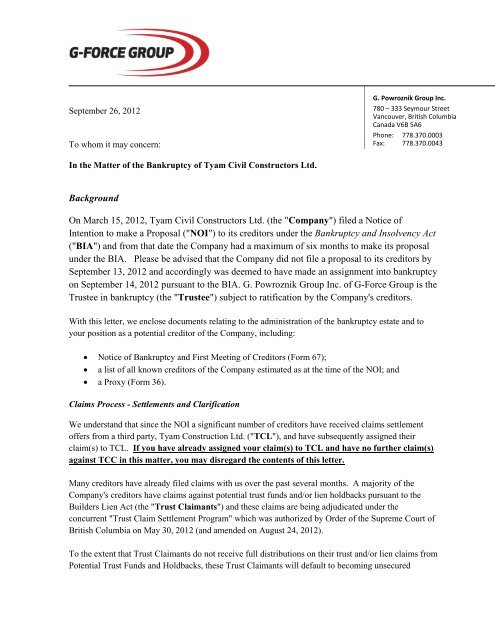 Trustee\'s cover letter with initial mailout dated Sept ...
