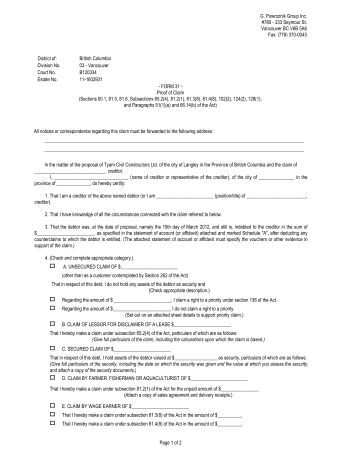Proof Of Claim Form - Farber Financial