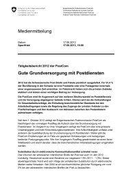 Gute Grundversorgung mit Postdiensten - PostCom - admin.ch