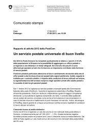 Un servizio postale universale di buon livello - PostCom - admin.ch