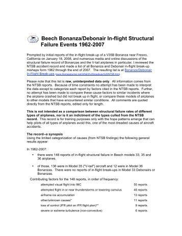 Debonaire magazines beech bonanzadebonair in flight structural failures fandeluxe Images