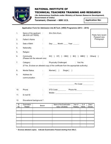 M.Tech Entrance Application Form 2008-09 - Department of Physics