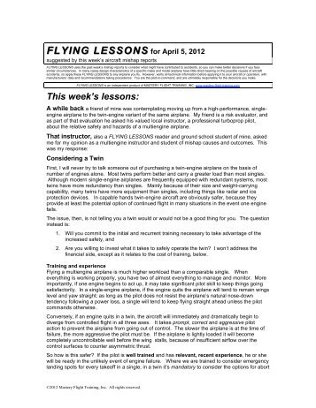 FLYING LESSONS for April 5, 2012 - Mastery Flight Training