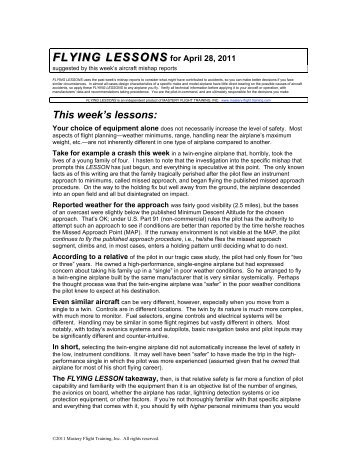 FLYING LESSONS for April 28, 2011 - Mastery Flight Training