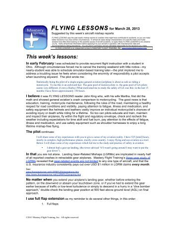 FLYING LESSONS for March 28, 2013 - Mastery Flight Training