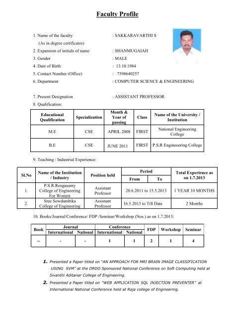 View Profile - SREE SOWDAMBIKA COLLEGE OF ENGINEERING