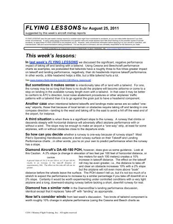 FLYING LESSONS for August 25, 2011 - Mastery Flight Training