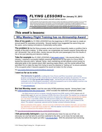 FLYING LESSONS for January 31, 2013 - Mastery Flight Training