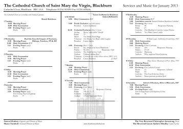 Music list Jan 2013 - Blackburn Cathedral