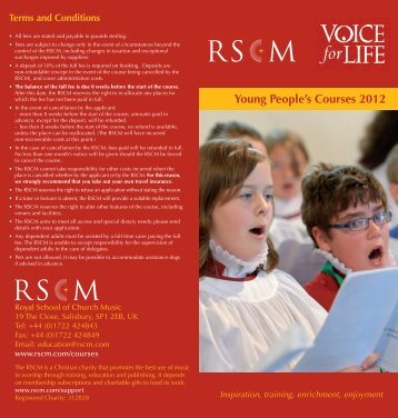 Young People's Courses 2012 - The Royal School of Church Music