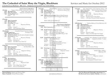 Music list Oct 2012 - Blackburn Cathedral