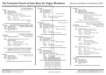 Music list Feb 2013 - Blackburn Cathedral