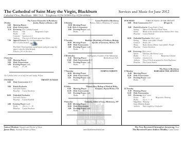 Music list 06.12 - Blackburn Cathedral