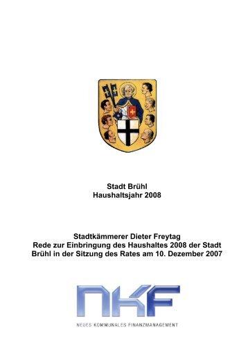 Stadt Brühl Haushaltsjahr 2008 Stadtkämmerer Dieter Freytag Rede ...