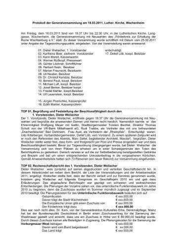 Protokoll zur Generalversammlung vom 18. März 2011 - Wachtenburg