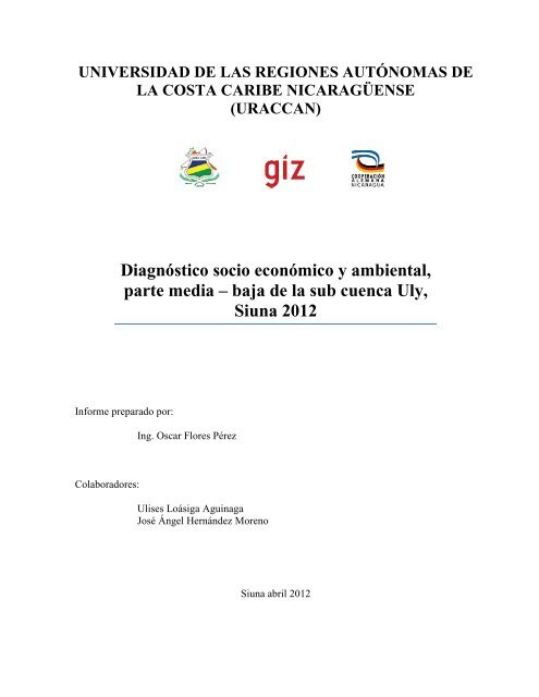 Diagnóstico socio económico y ambiental, parte ... - MASRENACE